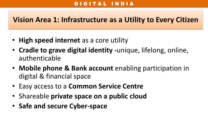Vision Area 1: Infrastructure as a Utility to Every Citizen