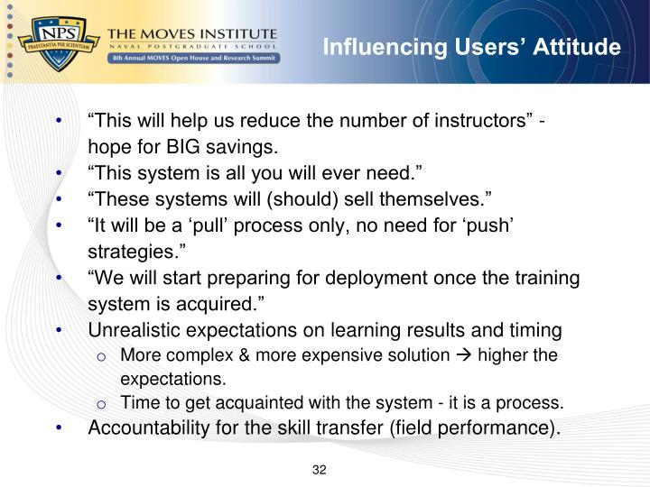 Influencing Users' Attitude