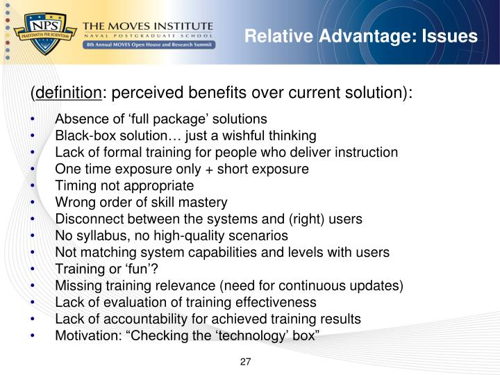 Relative Advantage: Issues