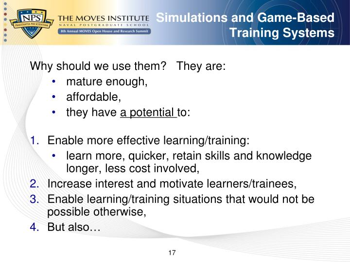 Simulations and Game-Based Training Systems