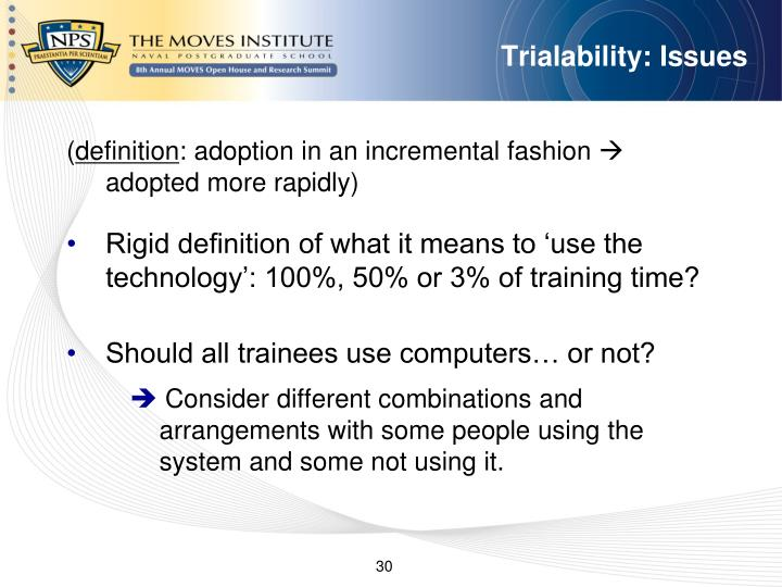 Trialability: Issues