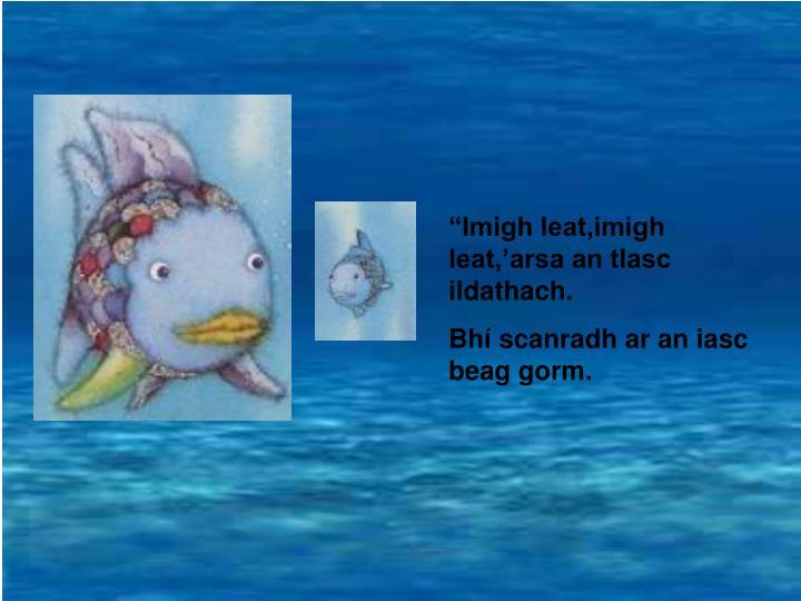 """Imigh leat,imigh leat,'arsa an tIasc ildathach."