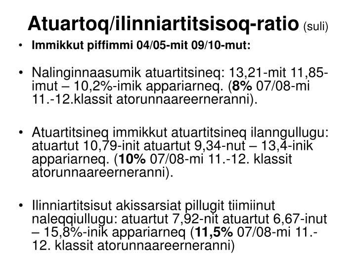 Atuartoq/ilinniartitsisoq-ratio