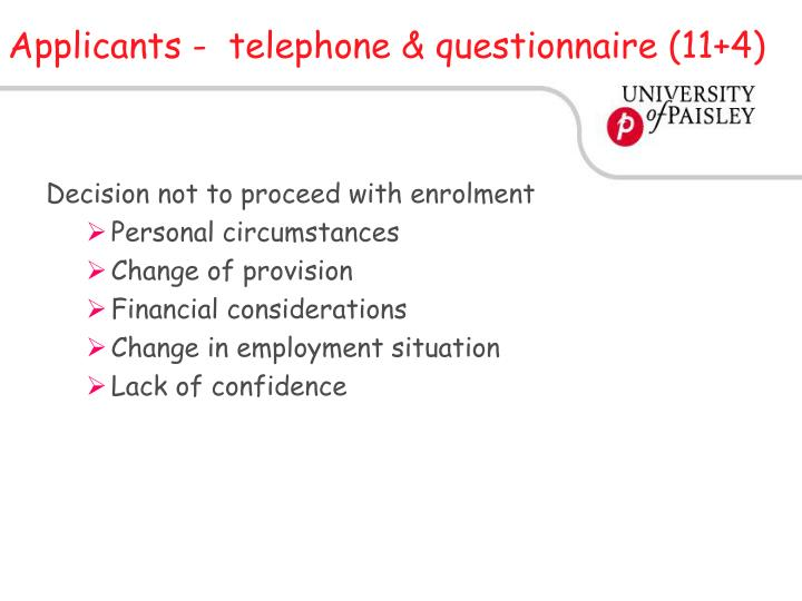 Applicants -  telephone & questionnaire (11+4)