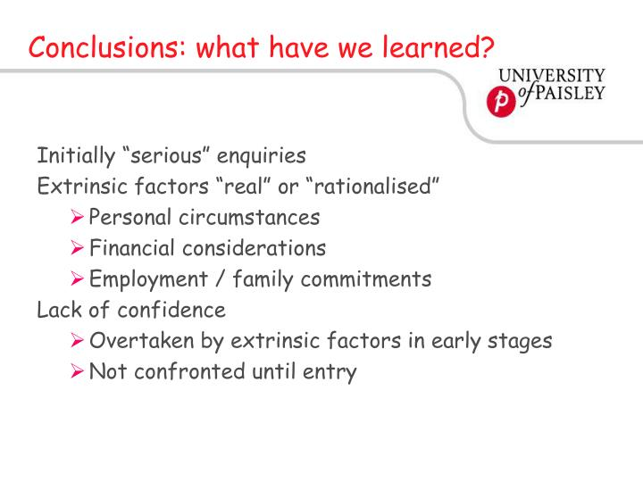 Conclusions: what have we learned?