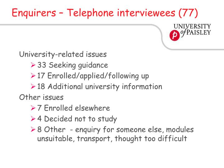 Enquirers – Telephone interviewees (77)