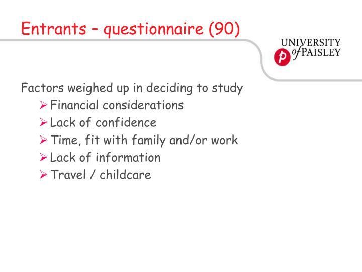 Entrants – questionnaire (90)