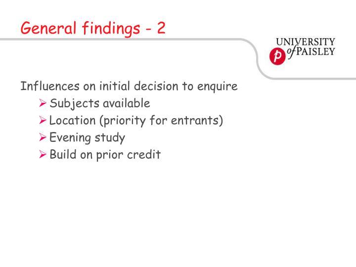 General findings - 2