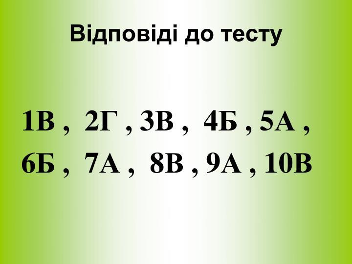 Відповіді до тесту