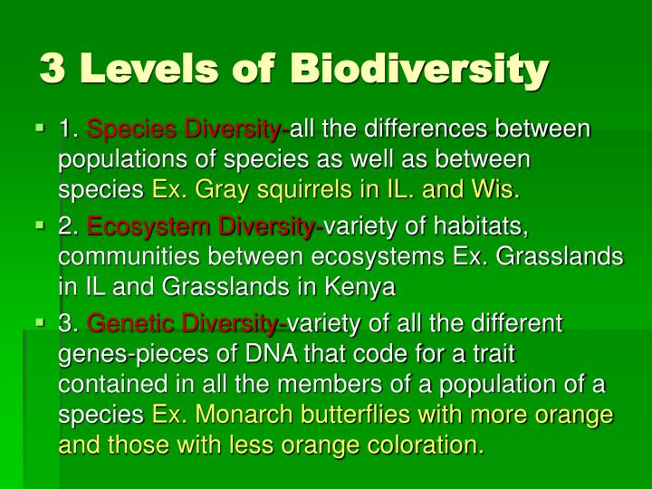 3 Levels of Biodiversity