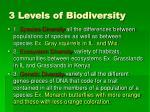 3 levels of biodiversity