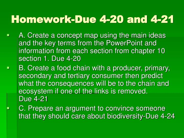 Homework-Due 4-20 and 4-21