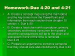 homework due 4 20 and 4 21