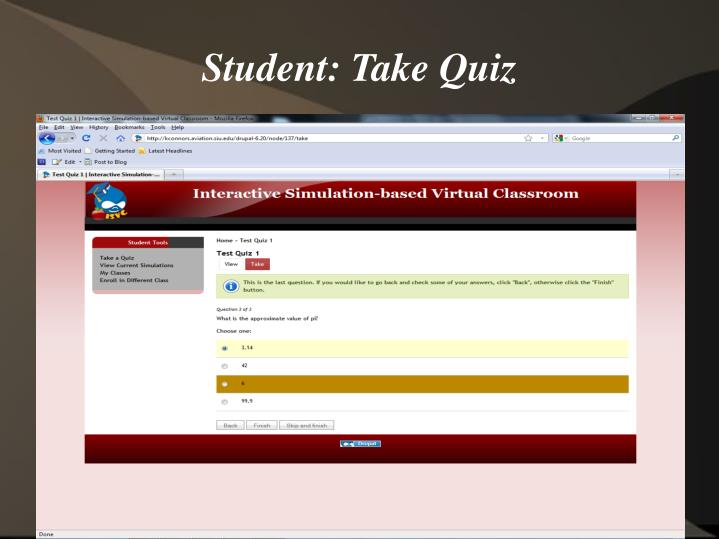 Student: Take Quiz