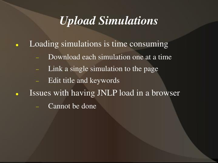 Upload Simulations