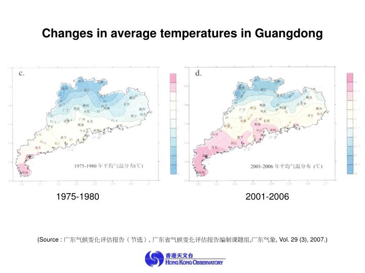 Changes in average temperatures in Guangdong