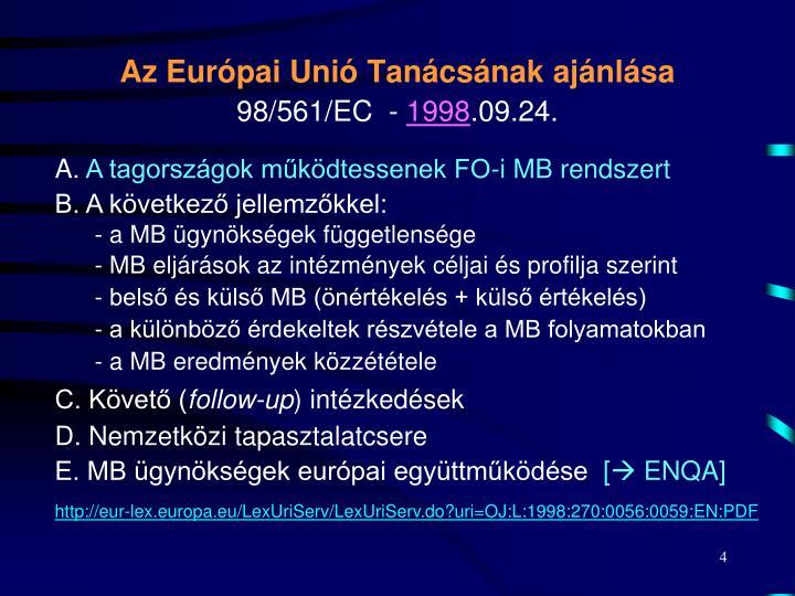 Az Európai Unió Tanácsának ajánlása