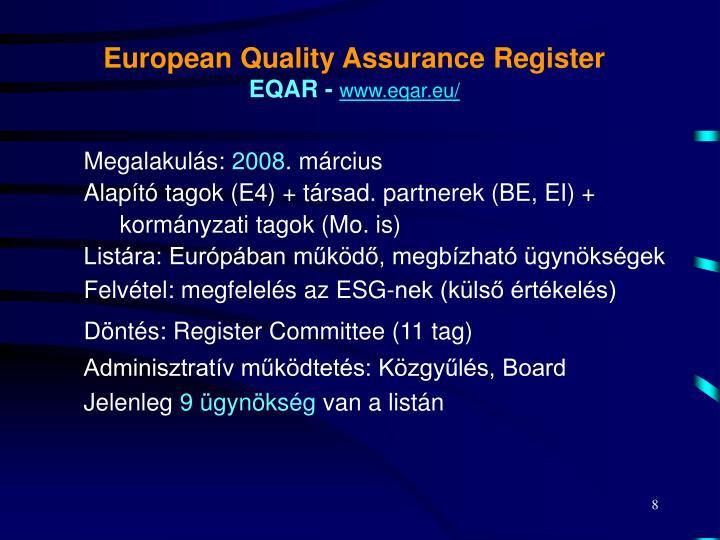 European Quality Assurance Register