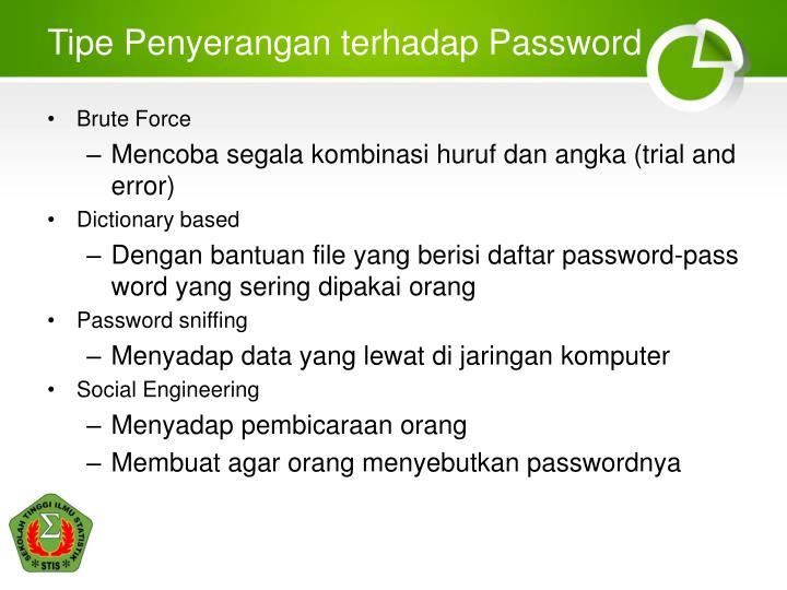 Tipe Penyerangan terhadap Password