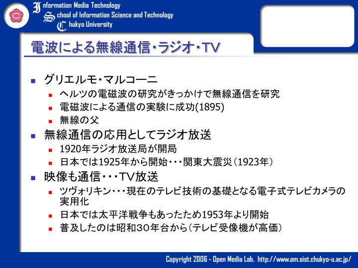電波による無線通信・ラジオ・TV