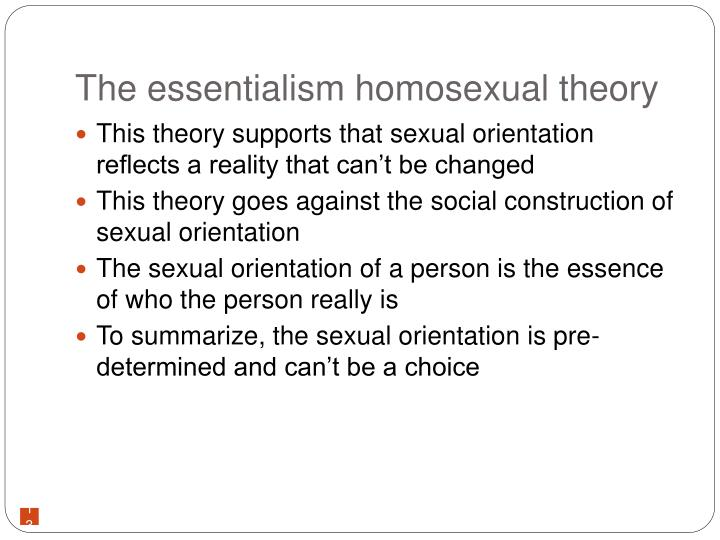The essentialism homosexual theory