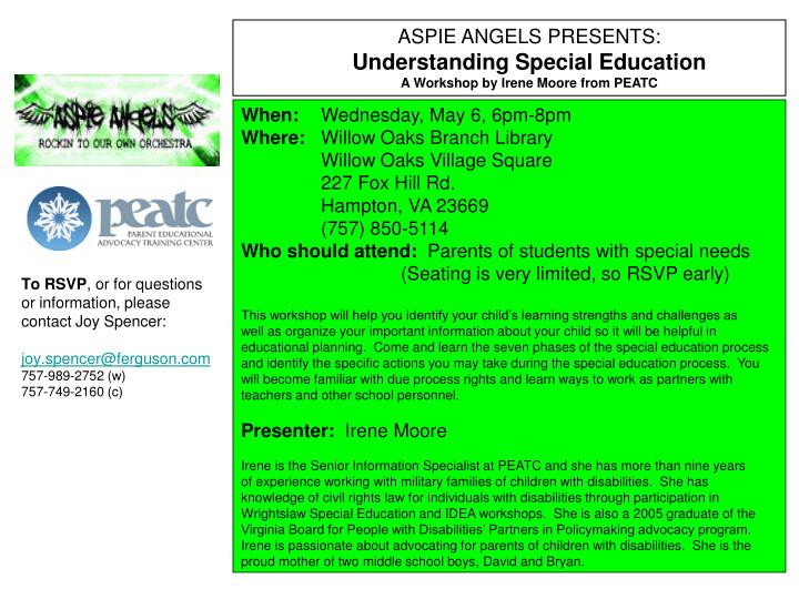 ASPIE ANGELS PRESENTS: