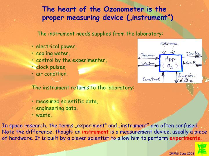"The heart of the Ozonometer is the proper measuring device (""instrument"")"