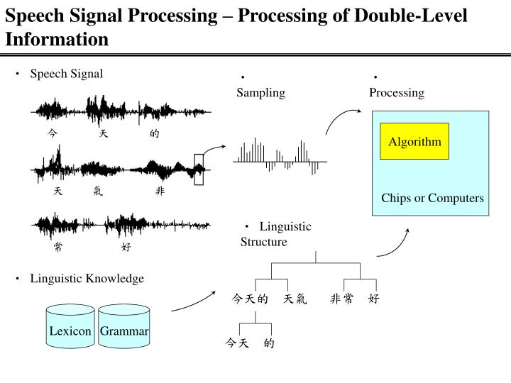 Speech signal processing processing of double level information