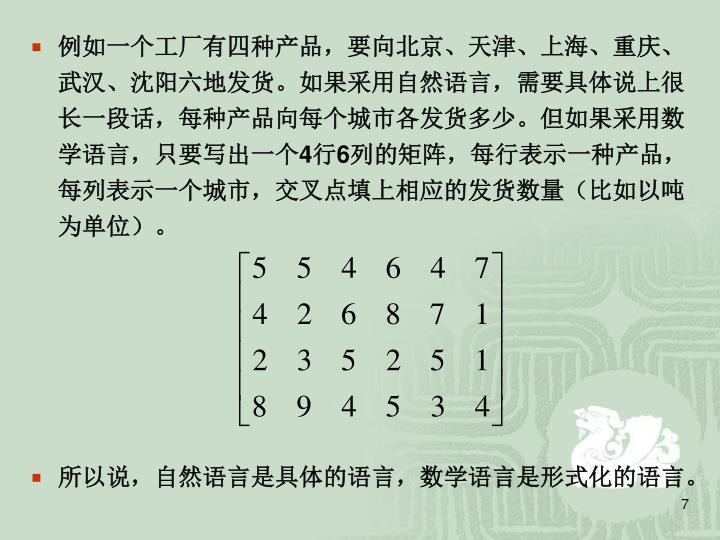 例如一个工厂有四种产品,要向北京、天津、上海、重庆、武汉、沈阳六地发货。如果采用自然语言,需要具体说上很长一段话,每种产品向每个城市各发货多少。但如果采用数学语言,只要写出一个