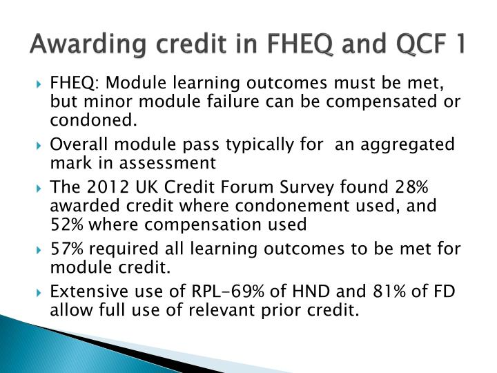 Awarding credit in FHEQ and