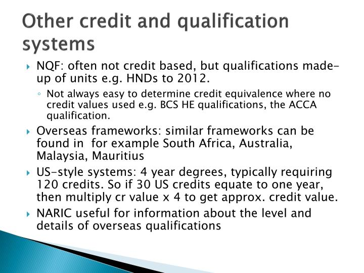 Other credit and qualification systems
