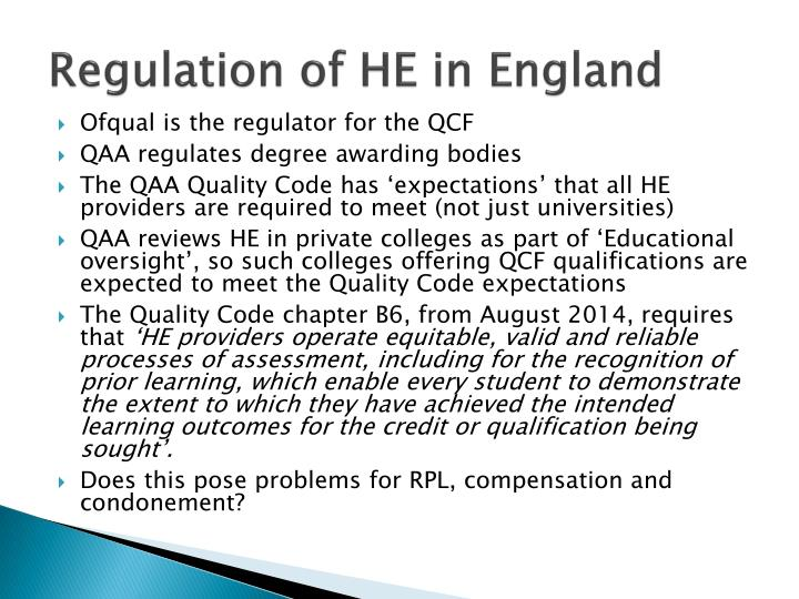 Regulation of HE in England
