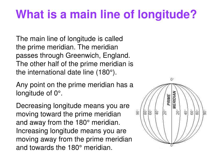 What is a main line of longitude?