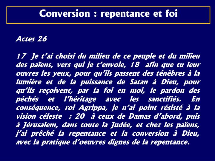 Conversion : repentance et foi