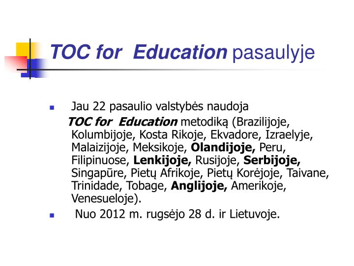 TOC for  Education