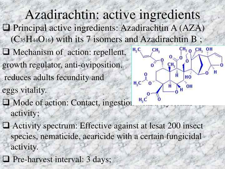 Azadirachtin: active ingredients