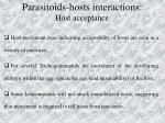 parasitoids hosts interactions host acceptance1