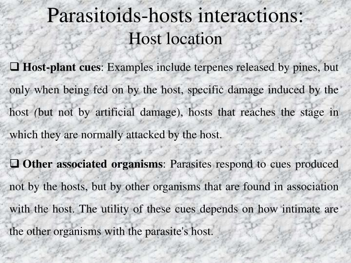 Parasitoids-hosts interactions: