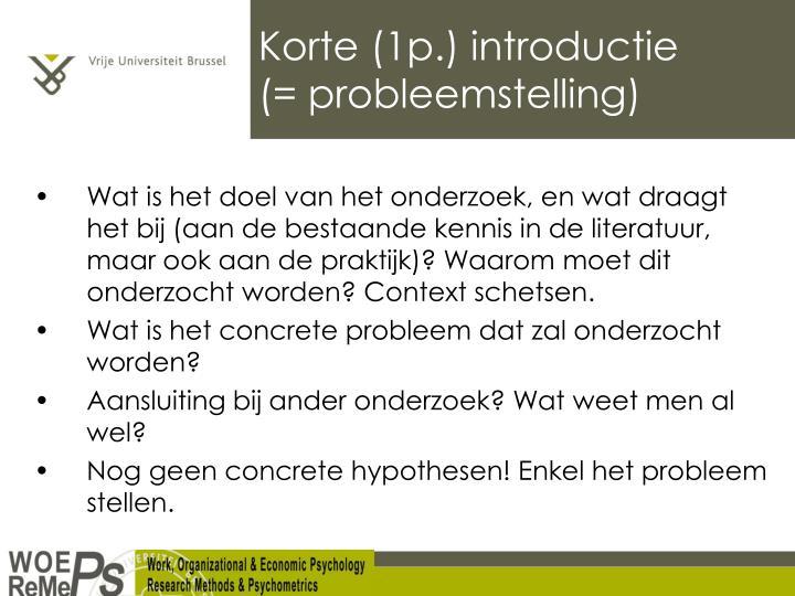 Korte (1p.) introductie