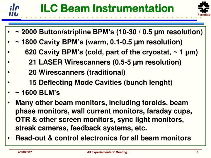 ILC Beam Instrumentation