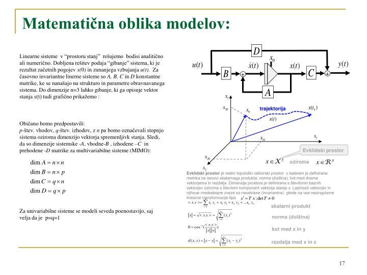 Matematična oblika modelov
