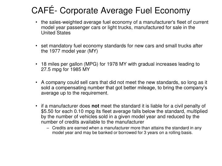CAFÉ- Corporate Average Fuel Economy