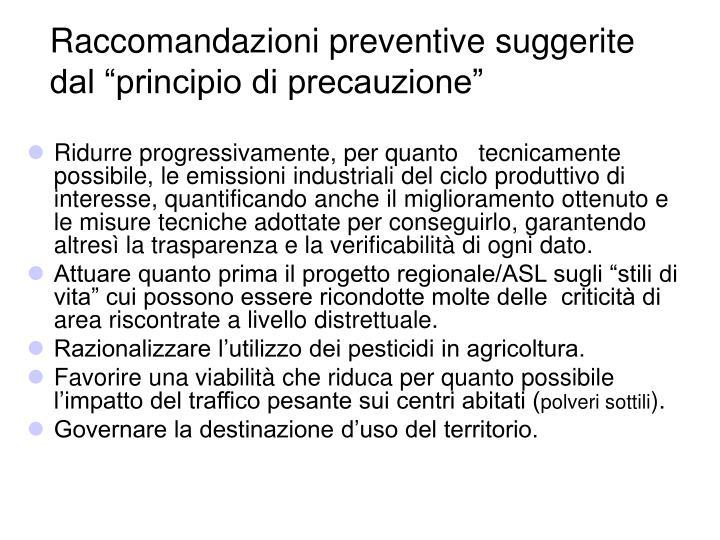 """Raccomandazioni preventive suggerite dal """"principio di precauzione"""""""