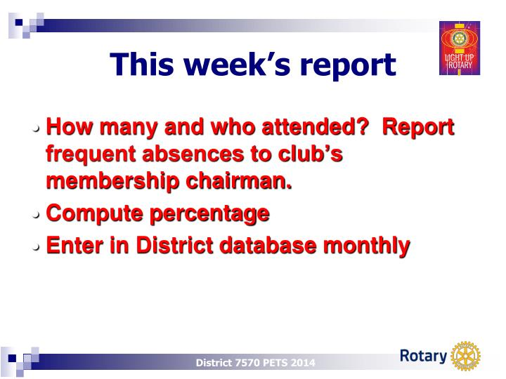 This week s report