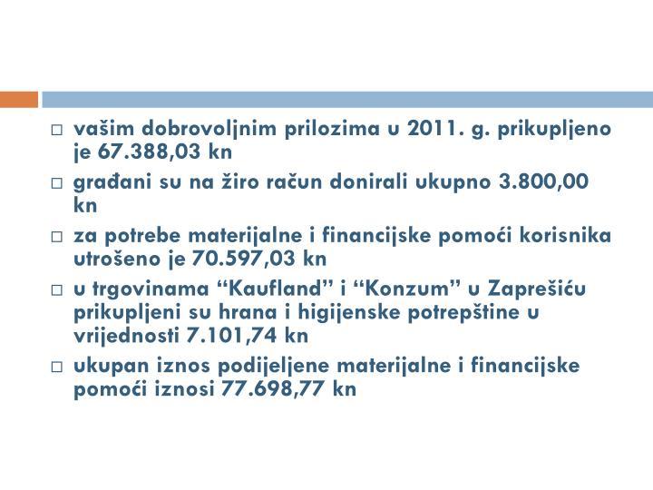 vašim dobrovoljnim prilozima u 2011. g. prikupljeno je 67.388,03 kn