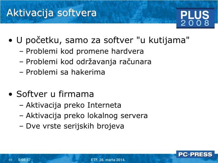 Aktivacija softvera