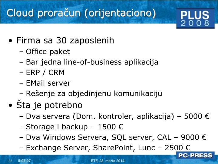 Cloud proračun (orijentaciono)