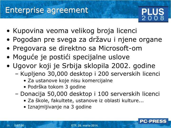 Enterprise agreement