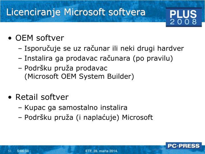 Licenciranje Microsoft softvera