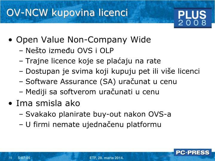 OV-NCW kupovina licenci